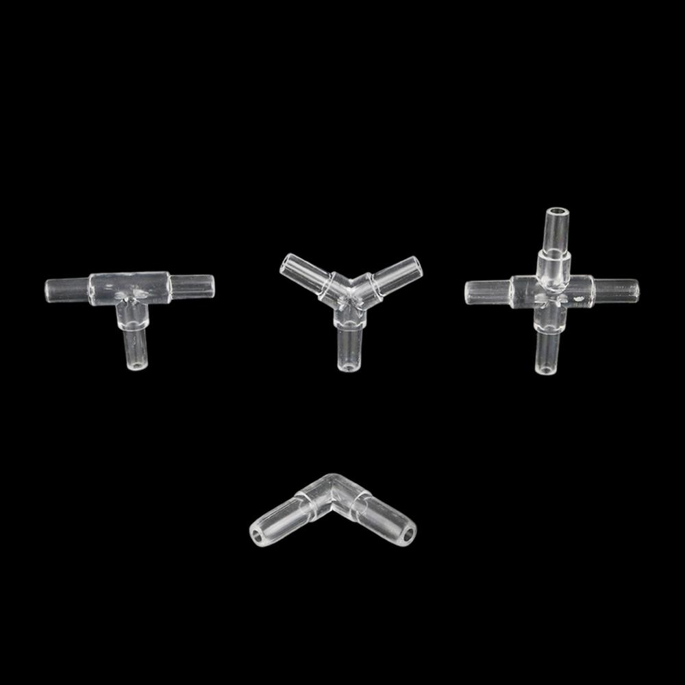 10 Pcs Hose Equal Transparent Acrylic Connectors Tee/Cross/Elbow/Y Shaped Air Tubing Connectors Aquarium Pipe Accessories