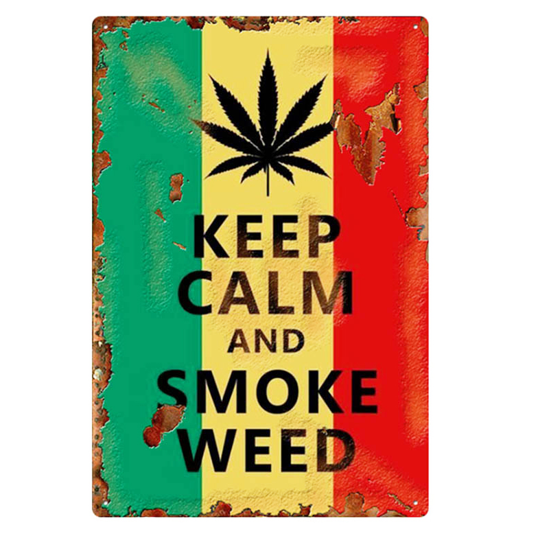 1pc Weed Retro Metal Tin Signs Poster California Vintage Tinplate Poster Bar Cafe Wall Decoration Poster 20*30cm