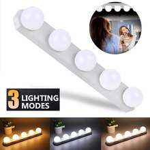 Bedroom Brightness Adjustable 5 Dimmable Bulbs Make Up Hollywood Style USB Rechargeable Dressing Table LED Mirror Light 3 Color(China)