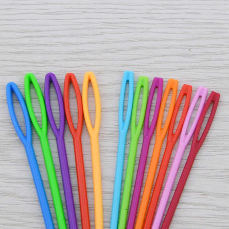 Agulhas de tricô de plástico ganchos de crochê tapeçaria 7 cm/9 cm fio de lã agulhas crianças diy camisola agulhas de tecelagem ferramentas