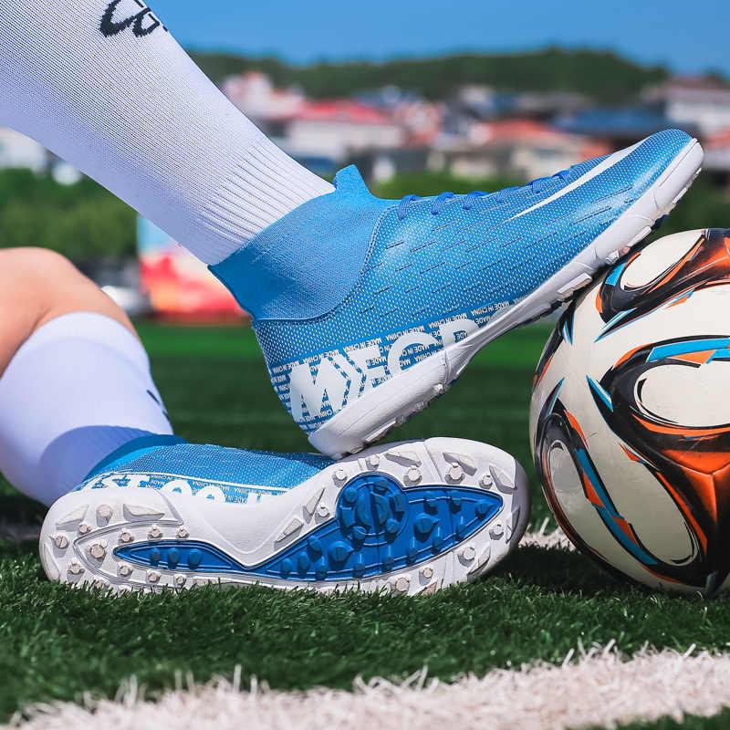 חיצוני גברים בני כדורגל נעלי כדורגל מגפיים גבוה קרסול ילדים סוליות אימון ספורט נעלי ספורט גודל 35-45 Futsal נעל dropshipping