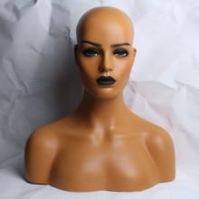 Черная помада женский манекен из стеклопластика голова бюст для париков дисплей