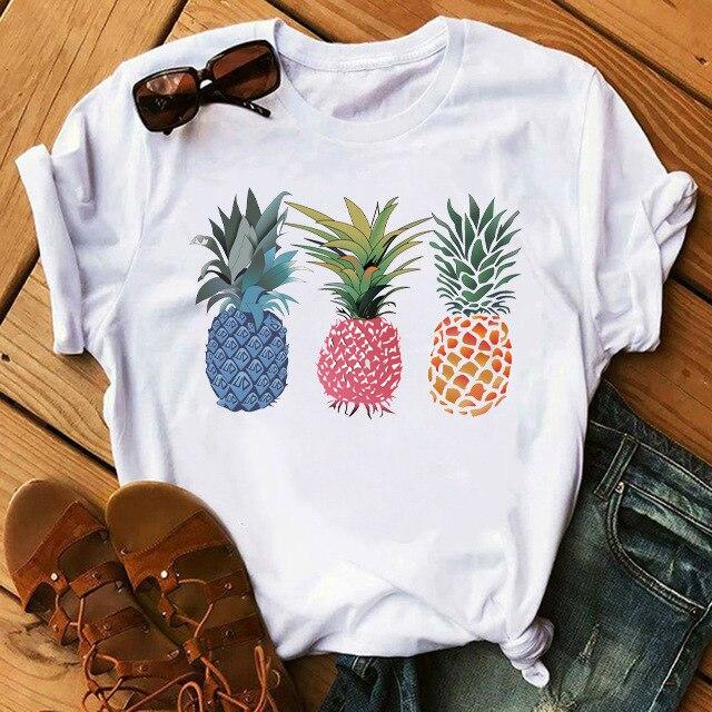 Mulher tshirts Verão 2020 Letras Moda Abacaxi Simples Impresso Curto de Mangas Compridas Top Branco T shirt das Mulheres Tops t shirt das mulheres|Camisetas|   - AliExpress