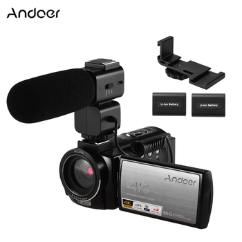 Andoer 4K WiFi Digital Video Camera Camcorder DV Recorder 30MP 16X Digital Zoom IR Night with 2pcs Batteries Microphone 1