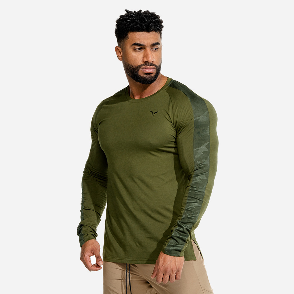 Running Sport T Shirt Men Gym Long Sleeve T-shirt Fitness Bodybuilding Skinny Tee Tops Spring New Male Jogging Training Clothing