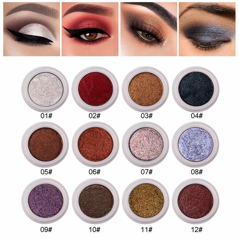 Single Color Fashion Makeup Eye Shadow Pan Soft Shimmering Long Lasting Waterproof Easy To Wear Eye Shadow Metallic Eye Cosmetic