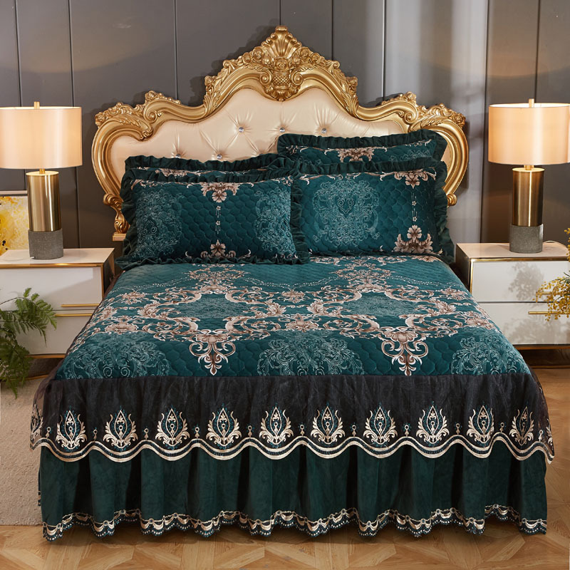High Grade Luxury Soft Bed Skirt Winter Plush Thick Quilted Bed Cover Skirt King Queen Pad Bedspread Not Including Pillowcase