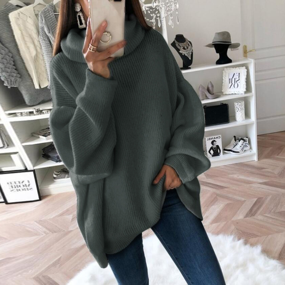 Casual Loose Autumn Winter Turtleneck Sweater Women Solid Knitted Sweaters Warm Long Sleeve Pullover Sweater Black Pink