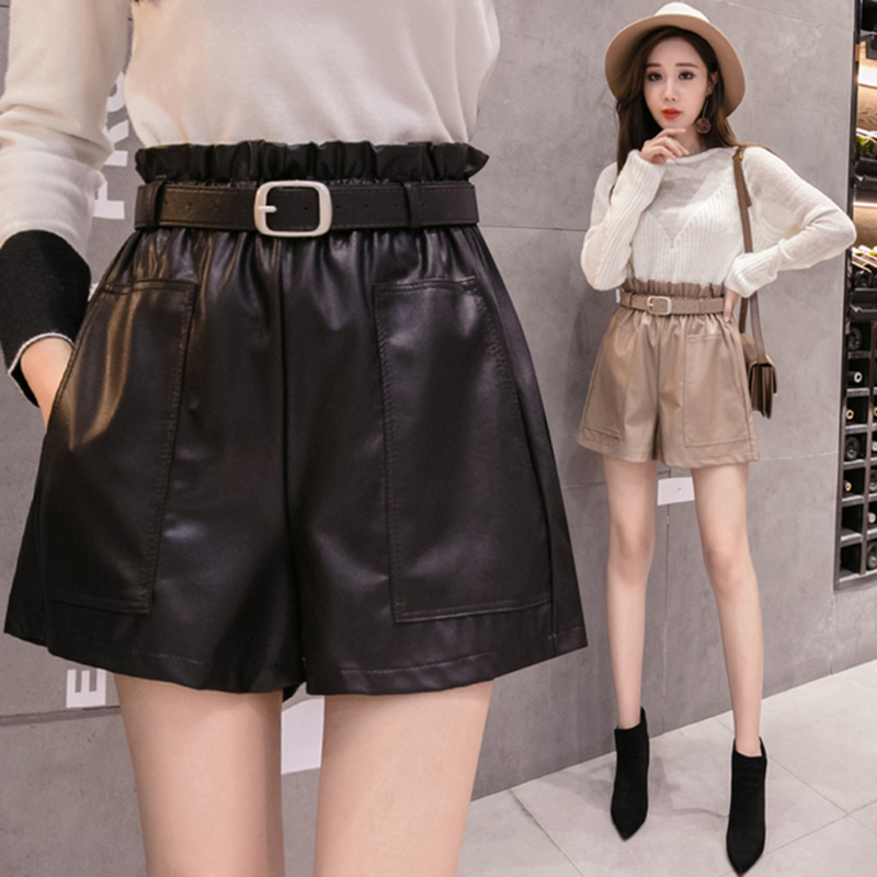 AIYANGA High Waist PU Leather Wide-legged Shorts 2019 Autumn Winter Women Fashion Ruffle Short A-line Faux Leather Short Bottoms