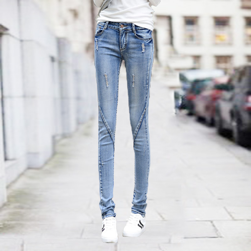 Korean-style Women's Cowboy Pants Stretch Skinny Pants Pencil Pants Grinding Tattered Hole Jeans Free