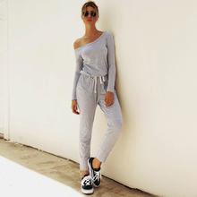 Ursohot Long Sleeve Off Shoulder Jumpsuit Lace Up Workout Playsuit Casual Sporty Romper Streetwear Slim Loose Overalls For Women цены