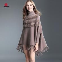 Tassels Core Spun Yarn Stripes Rabbit Fur Pullover Sweater Women Bat sleeve Turtleneck