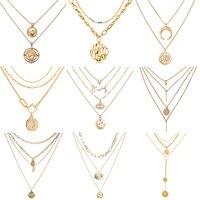Si moi Vintage Boho or métal pièce de monnaie collier en couches pour les femmes dame mode chaîne longue collier ras du cou pendentif colliers bijoux