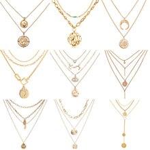 Винтажное многослойное ожерелье IF ME в стиле бохо с золотыми металлическими монетами для женщин, женская модная цепочка, длинное колье, ожерелье с подвеской, ювелирное изделие