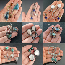 2020 New Vintage Resin Drop Earrings For Women Indian Tribal Jewelry Metal Silver Color Ethnic Earring Accessories Mujer Gift