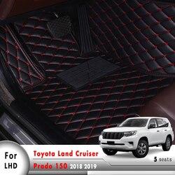 Skórzane dywaniki samochodowe wnętrze akcesoria samochodowe dywaniki samochodowe dla Toyota Land Cruiser Prado 150 2018 2019 5 miejsc