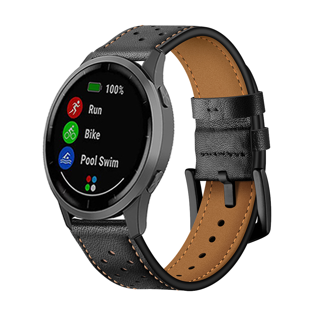 Leather Watchband For Garmin Vivoactive 4 3 Music Strap Band For Garmin Venu/GarminActive/Vivomove HR Watch Correa Quick Release