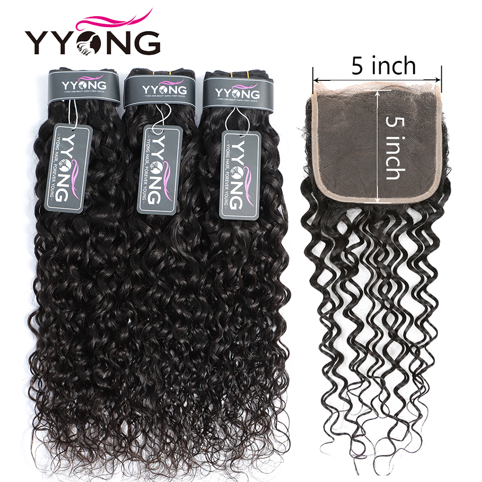 Yyong Hair Store 5x5 Closure With Bundles Brazilian Water Wave Bundles With Closure Non Remy 3