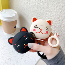 3D Cartoon Cute Lucky Cat Silicone Headphone Case Protective Cover For Apple Air pods 1 2 Wireless Earphone Coque