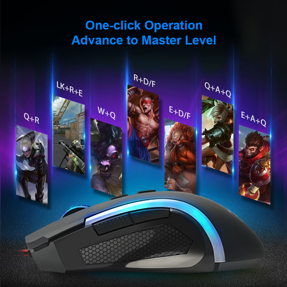 Image 5 - Redragon GRIFFIN M607 USB Wired Gaming Computer Mouse 7200 DPI 6 buttons 7 color backlit RGB Programmable ergonomic For PC Gamer-in Mice from Computer & Office