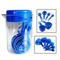 7 Teile/satz Blau Kunststoff Messbecher Küche Mess Werkzeuge Löffel Sets Für Küche Backen Kaffee Absolvierte Löffel
