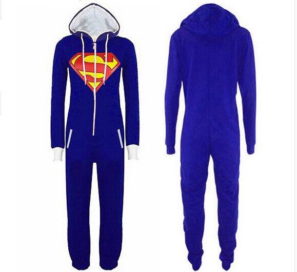Superman Pattern Onesie Cartoon Pajamas Anime Cosplay Costume Tracksuit Hoodie