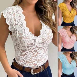 New Women Sexy V Neck Lace Vest Top Sleeveless Solid Wire Free Tops Casual Underwear Female Comfortable Clothing Lady Plus Size