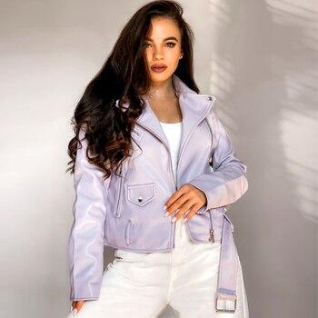 Spring Autumn Women Faux Leather Jacket Ladies Solid With Belt Zipper Biker Coat Female Casual Outwear