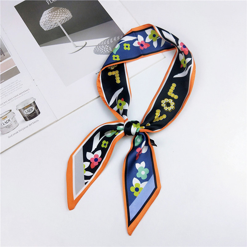 Women Fashion Ribbon Silk Scarf Beautiful Design Neckerchief Hair Band Bag Handle Wraps Small Neck Scarves