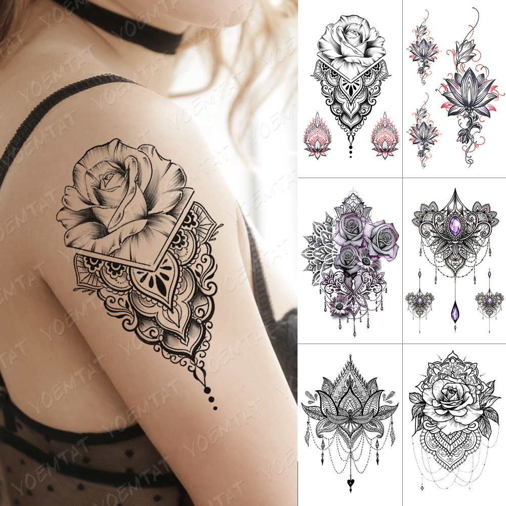 Waterproof Temporary Tattoo Sticker Black Henna Flower Rose Flash Tattoos Leaf Peony Body Art Arm Fake Tatoo Women Men
