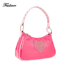 Vintage Women Shoulder Bag Fashion Ladies Crossbody Bags Female Handbags Rhinestone love Small Subaxillary Bags Bolsa Mujer