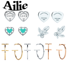 Ailey original high quality 925 sterling silver heart earrings enamel drop glue classic Jane fashion lady jewelry couple gift
