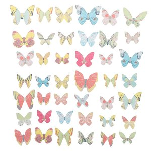 42pcs Mixed Butterfly Edible Glutinous Wafer Rice Paper Cake Cupcake Toppers For Cake Decoration Birthday Wedding Cake Tools