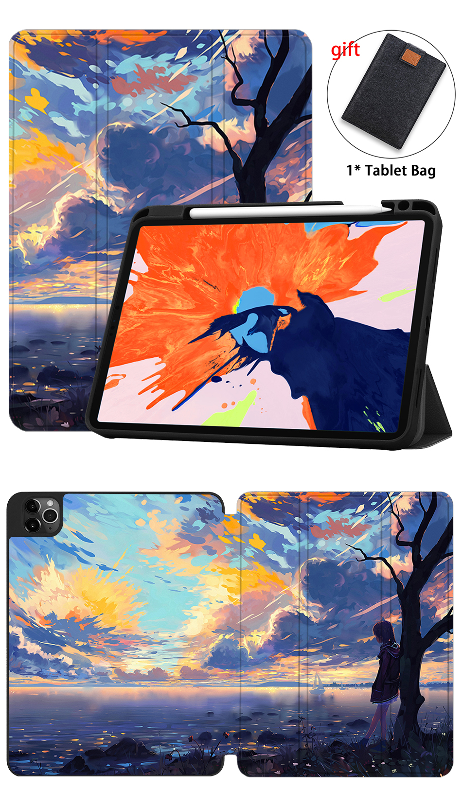 Soft Back+PU Leather 12.9 Tablet For inch A2233 2020 TPU MTT iPad Pro A2229 Case New