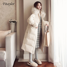 Jacket Down-Coat Women Parka Fur-Collar Hooded Fitaylor White-Duck-Down Female Real-Raccoon
