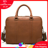 Genuine Leather Male Package Cross Section Square Business Affairs Man Handbag Briefcase Cowhide Single Shoulder Package Male
