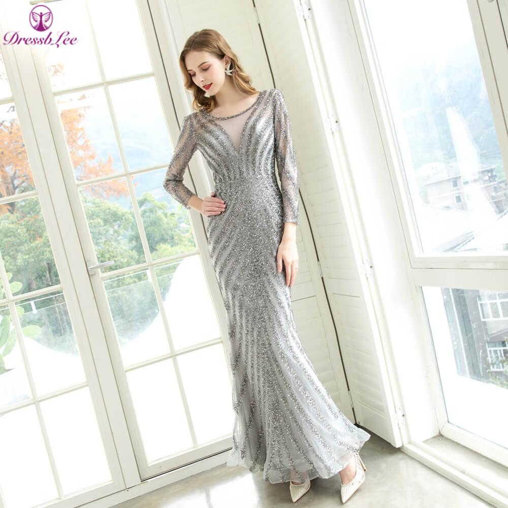 Luxury Long Sleeves Muslim Mermaid Evening Dress Sparkly Beading Long Evening Gown Floor Length Party Dresses Plus Size