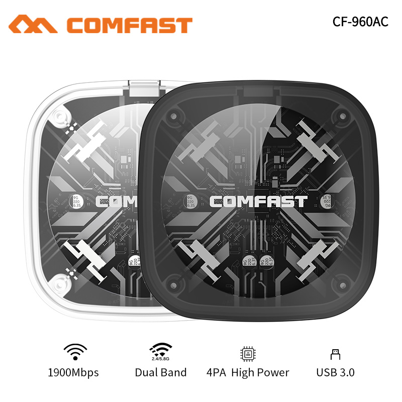 COMFAST CF-960AC 2.4G/5.8GHz Dual Band 802.11 Ac 1900Mbps USB 3.0 WI-FI PC Gigabit WIFI WIRELESS ADAPTER Network Receive Card