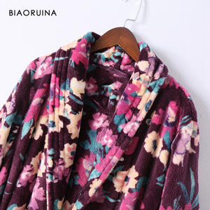 Image 3 - BIAORUINA Womens Vintage Flannel Floral Printed Long Robes with Sashes Female Winter Keep Warm Casual Sleep Clothing Underwear