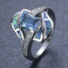 Bague de mariage rectangulaire en Zircon bleu pour femmes, bague géométrique de Banquet, bijoux pour femmes, offre spéciale