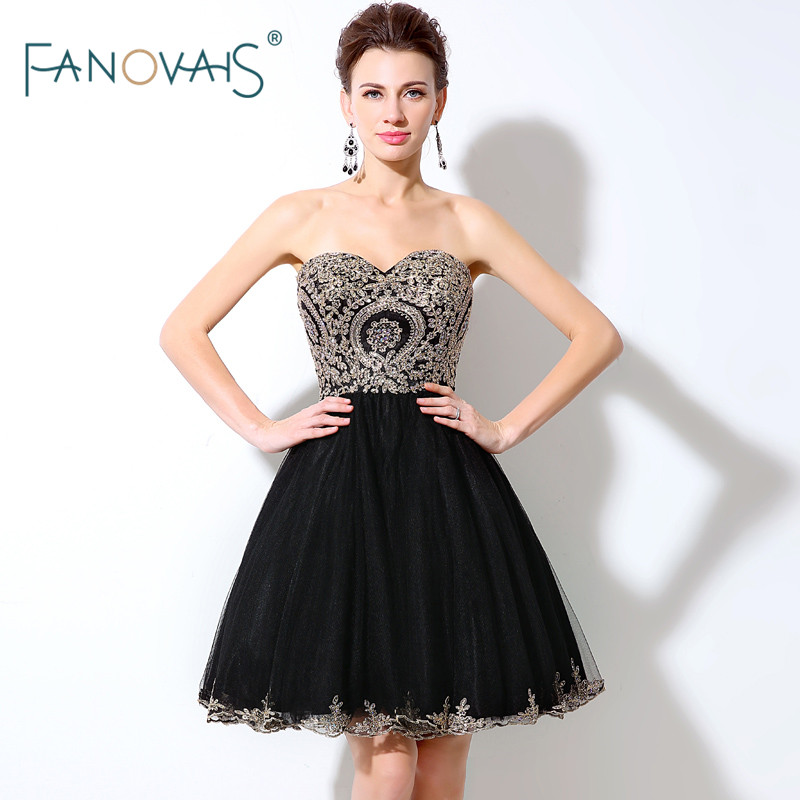 In Stock Black   Prom     Dresses   2019 Sweetheart Gold Lace   Prom   Party   Dress   Short Mini Skirt Evening Party   Dress   Robe de Soiree