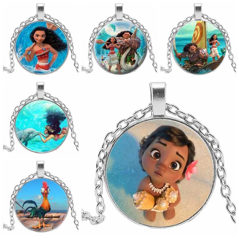 New Movie Moana Marine Necklace Little Wizard Baby Girl Moana Cute Picture Glass Cabochon Tricolor Necklace Gift Pendant