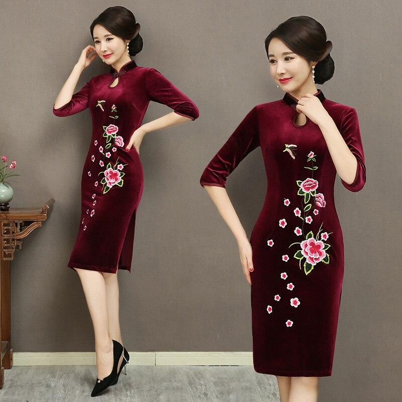 Autumn And Winter New Style Retro Embroidery Gold Velvet Cheongsam Women's Slim Fit Mid-length Elegant Banquet Formal Dress Half