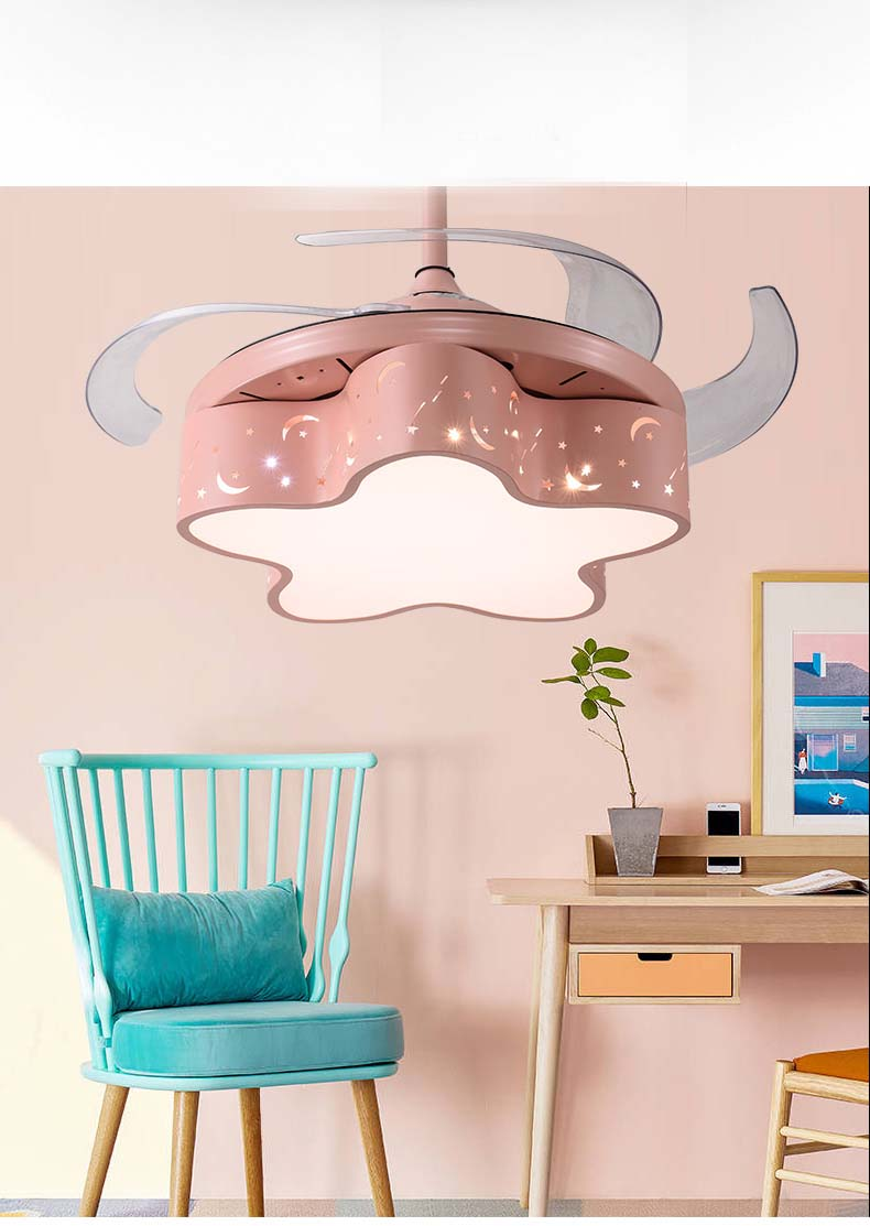 Bright Led 42 Inch Ceiling Fans Light Children Room Football Boy Remote Control Ceiling Fan Lamp Girl Princess Lamp Pink High Safety