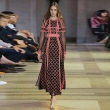 Gothic Vintage Dress Women Black Runway Floral Flower Lace Embroidery Polka Dot Mesh Long Sleeve Retro Ukraine Dresses Female