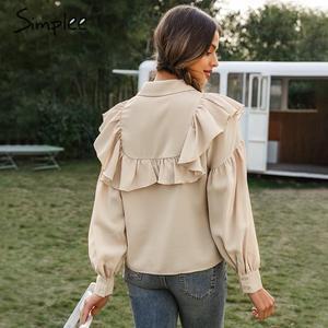 Image 4 - Simplee Vintage potargane kobiety bluzka koszula elegancki rękaw kloszowy guziki bluzki damskie koszule jesienno zimowa biurowa, damska bluzka