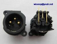 DHL/EMS 100PCS Gold Rechten Winkel 3 Pole XLR Männlichen Panel buchse für Mikrofon gitarre charger A7-in Batteriezubehörteile und Ladezubehör aus Verbraucherelektronik bei