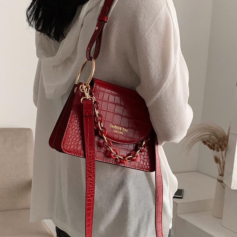 Stone Pattern Square Tote Bag 2020 Fashion New High Quality Soft PU Leather Women's Designer Handbag Shoulder Messenger Bag