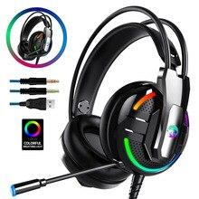 Auriculares para juegos, auriculares estéreo de graves profundos con cable para jugadores, micrófono con retroiluminación para Xbox one PS4, teléfono móvil, ordenador portátil