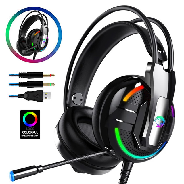 Gaming Headphones Headset Deep Bass Stereo wired gamer Earphone Microphone with backlit for Xbox one PS4 Mobile phone PC Laptop